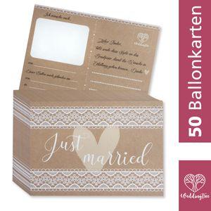 WeddingTree 50 Ballonkarten Hochzeit Vintage - Vintage Hochzeit Design - Gelocht