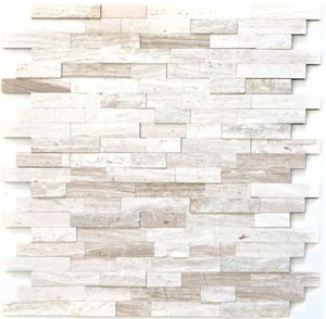 Mosaikfliese selbstklebend Marmor Naturstein grauweiß Naturstein white wood MOS200-0120_f