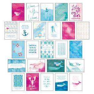 """Postkarten Set """"""""Sand & Sea"""""""" - 25 hochwertige Postkarten mit sommerlichen Motiven sowie inspirierenden und motivierenden Sprüchen & Zitaten zum Dekorieren oder Verschicken. Von Hand designte Spruchkarten Sommer, Sonne, Strand & Meer"""