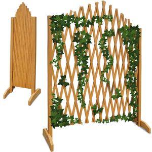 Variables Pflanzengitter 200 x 107 cm freistehend klappbar Holz Gartenzaun Rankhilfe , Farbe:braun
