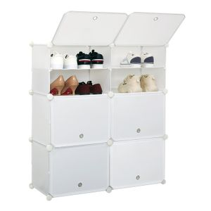 Schuhschrank, Kunststoff Schuhablage mit 6 Fächer und 2 Reihen, DIY Schuhregal, Multifunktionaler Speicher, 83 * 31 * 93cm
