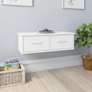SIRUITON Wand-Schubladenregal Weiß 60X26X18,5 cm Spanplatte