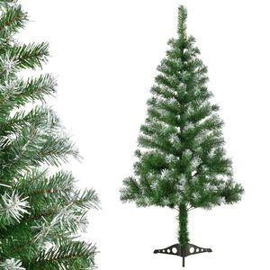 Juskys Weihnachtsbaum 150 cm künstlich mit Schnee & Ständer – Tannenbaum naturgetreu – Deko Christbaum für Innen - Weihnachtsdeko grün / weiß