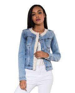 Damen Denim Jeans Jacke Helles Vintage Jacket Glitzer Perlen Übergangsjacke , Farben:Blau, Größe:XL