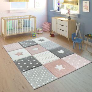 Kinderteppich Pastellfarben Kariert Punkte Herzen Sterne Weiß Grau Rosa, Grösse:120x170 cm
