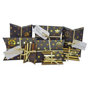 DIY Adventskalender zum Befüllen HoHoHo Metallic, schwarz, gold/Weihnachtskalender Bastelset Weihnachten,Schachteln,Kissenschachteln, Kinder, Zahlen, Geschenkbeutel, Aufkleber