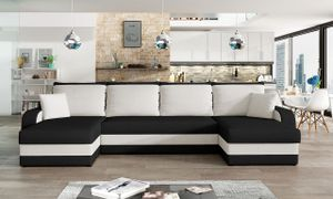 Mirjan24 Ecksofa Kris U, Stilvoll Eckcouch mit Bettkasten und Schlaffunktion, U-Form Couch, Schlafsofa (Mikrofaza 0015 + Mikrofaza 0031)