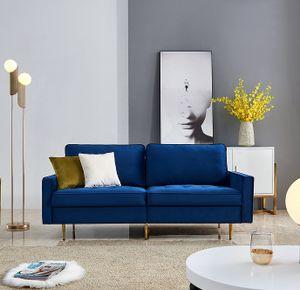 Red Rose Moderne 2 Sitzer Sofa Klassische Sofas mit 2 dekorative Kissen Metallbein Blau  Samt Stoff Breite 180cm