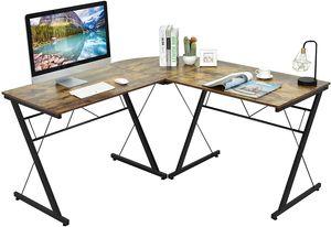 COSTWAY L-Form Computertisch Schreibtisch Computerschreibtisch Bürotisch Ecktisch Winkelschreibtisch 150x150x76cm Kaffee