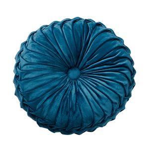 Holland Samtkissen Dekoration Sofa Dekoration Rundes kleines Dekokissen, Blau, 35cm