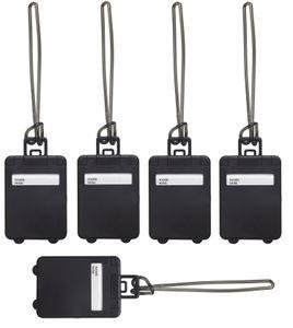 Kofferanhänger 5er Set Namensschild schwarz Gepäckanhänger 5 x 9 cm