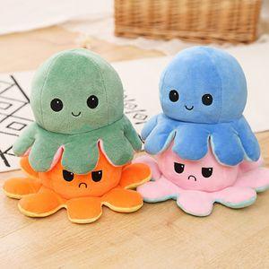 Doppelseitige Flip Octopus Puppe Plüschtier Niedliche Flip Octopus Puppe  Dunkelblau * Hellblau 10 * 20