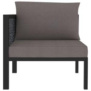 Hommie® Sofa Sofa-Eckelement mit Rechter Couch Sofagarnitur Lounge-Sofa - Armlehne Poly Rattan Anthrazit für Wohnzimmer ❤7239