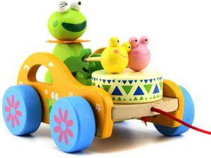 Baby Trommel Kaninchen Frosch Spielzeug Nachziehtier aus Holz, Auto mit Rad Push und Pull Spielzeug Nachziehspielzeug
