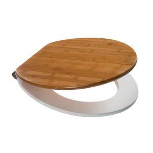 Spirella WC Deckel mit Absenkautomatik Oslo Bambus mit High Gloss Finish und Fast/Fix Scharniere aus Edelstahl - per Knopdruck abnehmbar