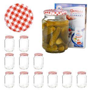 Van Well 12er Set Einkochgläser 720 ml Sturzglas Deckel rot-weiß kariert Einmachgläser Obst