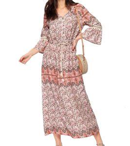 Laura Scott Maxi-Kleid verspieltes Damen Kleid im Ibiza-Style mit Print Mehrfarbig, Größe:38