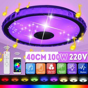 NEUFU Led Deckenleuchte mit bluetooth Lautsprecher und Fernbedienung,RGB Musik Deckenlampe Farbwechsel mit APP-Steuerung für Küche Wohnzimmer, Flur, Rund 40cm 220V 100W