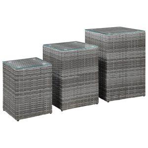 vidaXL Beistelltische 3 Stk. mit Glasplatte Grau Poly Rattan