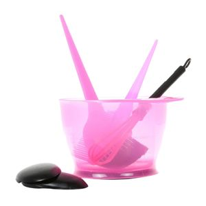 6pcs Salon Haarfärbeset Haarfarbe Pinsel Kamm Rührschüssel Ohrabdeckung Set Pink Rosa Andere 11,8 x 14,5 x 8 cm Set / Kit