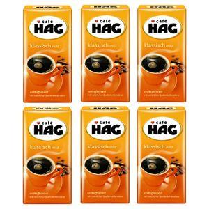 CAFÉ HAG Filterkaffee Klassisch mild 6 x 500g entkoffeiniert Pulver- Röstkaffee