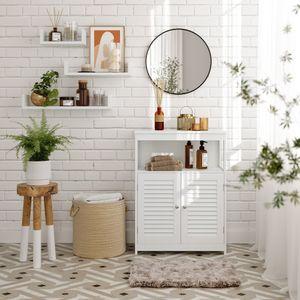 VASAGLE Badezimmerschrank, 60 x 30 x 80 cm, Badschrank, freistehender Küchenschrank, Aufbewahrungsregal, mit 2 Türen, weiß BBC40WT