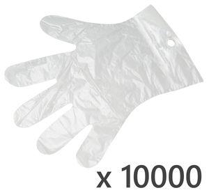 10000 Stk. Einweg-Folienhandschuhe aus HDPE - Mehrzweck Kunststoff Handschuhe zum Abreißen - Transparent
