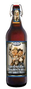 Bierpräsent - Bierweisheit: Gegen den Durst - 1 Liter Flasche Bier mit Bügelverschluss