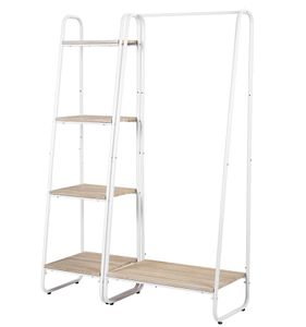 Kleiderständer Garderobenständer mit 4 Ablage, Wäscheständer Schuhregal aus Holz und Stahl ,Weiß + Hell Eiche