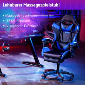 Blau Gamingstuhl Gaming Stuhl Racing Bürostuhl Chefsessel Drehstuhl Schreibtischstuhl