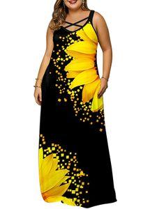 Damen Plus Size Blumenmuster V-Ausschnitt Ärmellos Rückenfrei Maxikleid Sommerkleid, Schwarz, 5XL