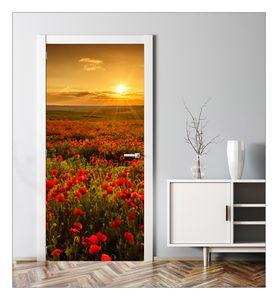 MyMaxxi | Tür verschönern mit Türtapete Selbstklebend 90x200 Mohnblumen | Türfolie Selbstklebend | Selbstklebende Türaufkleber XXL Türbilder | Türposter Türklebefolie Blumenfeld Mohn