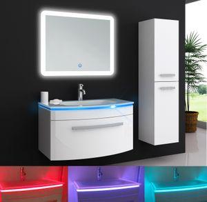 Oimex Jasmin 90 cm Badmöbel Set mit LED Spiegel Hochglanz Weiß Set mit viel Stauraum LED Unterschrank Glaswaschbecken Variante: Waschtisch mit LED Spiegel