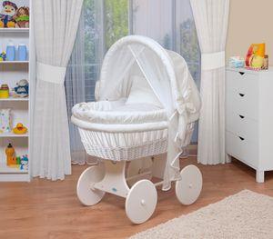 WALDIN Baby Stubenwagen-Set mit Ausstattung,XXL,Bollerwagen,komplett,44 Modelle wählbar, Größe:Gestell/Räder weiß lackiert, Farbe:weiß