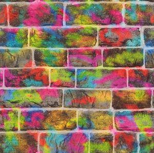 Tapete - Leuchtende Sprühfarbe auf Backstein | Papier | Kids & Teens 2 | Rasch