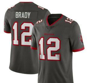 Amerikanischer Fußball Trikot Herren Tom #12 Tampa bay Football Stitched Jersey Grau  Gr. L