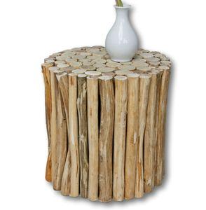 Sitzhocker Hocker braun Landhaus Tisch Beistelltisch Holzhocker Urban Massivholz
