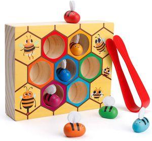 Feinmotorisches Geschicklichkeitsspielzeug für Kleinkinder, Clamp Bee to Hive Matching Game, Montessori