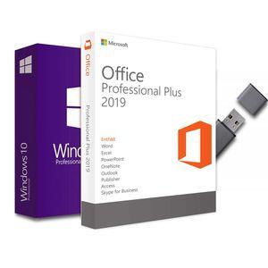 20 x Windows 10 Pro + Office Professional Plus 2019 Aktivierungsschlüssel 1PC 32/64Bit + USB-Stick deutsche Vollversion für Laptop/PC/Notebook (Officeprogramm, Betriebssystem, USB-Stick)