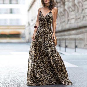 Frauen Leopardenmuster Langes Kleid Mit V-Ausschnitt Spaghetti Schultergurte aermellos Casual Maxi-Kleid (L)
