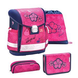 Belmil Schulranzen Set 4 - teilig ergonomischer Schulranzen Mädchen 1. klasse 2. klasse 3. klasse - Super Leicht 860-950 g/Grundschule/Blumen, Pink (403-13 Tropical Pink Schulranzen Set)