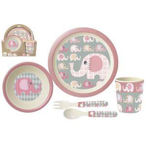 p:os 30750 Kindergeschirr Frühstücksset 'Elefantinis' Bambus, 5-teilig (1 Set)