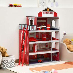COSTWAY 4 Ebenen Kinder Feuerwehrstation mit LKW & Hubschrauber, Feuerwache Spielset mit Leiter und Feuerwehrstange, Holz Feuerwehrhaus inkl. komplettes Zubehör, Kinder Rollenspielzeug ab 3 Jahren