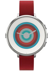 Pebble 60100053 Pebble Time Round Smartwatch Silber/Rot