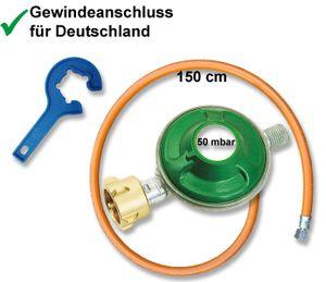 Grill-Gas-Regler Set Schlauch 150cm Druckminderer 50mbar Gas-Flaschen Schlüssel