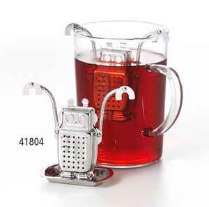"""Tee-Ei """"Roboter"""" Edelstahl, mit Ablage Höhe ca. 6 cm"""