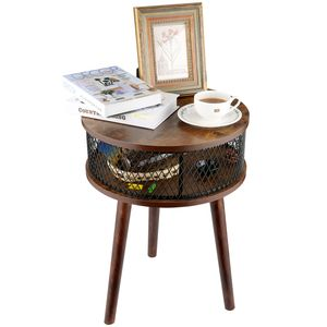 Beistelltisch 42x42x58cm mit Lagerung Schicht Holz , Couchtisch Esstisch für Wohnzimmer Schlafzimmer vintagebraun,Runde