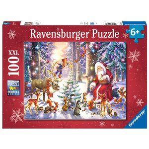 RAVENSBURGER Kinderpuzzle Waldweihnacht XXL-Format Premiumpuzzle 100 Teile