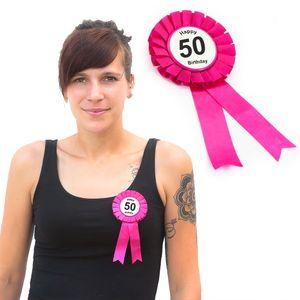Oblique Unique Brosche Button 50. Geburtstag Happy Birthday Abzeichen - pink