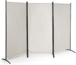 COSTWAY Raumteiler mit verstellbaren Untersetzern, Trennwand Paravent Wand Sichtschutz Wandschirm Beige, 3-teiliger